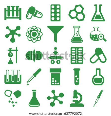 Chemistry icons set. set of 25 chemistry filled icons such as pipette, pill, test tube, test tube search, atom, atom fusion, microscope, filter, chemical structure