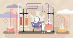 Chemistry industry vector illustration. Flat mini science research persons concept. Experimental medicine or pharmacy discovery laboratory with physics test equipment. Knowledge learning in university