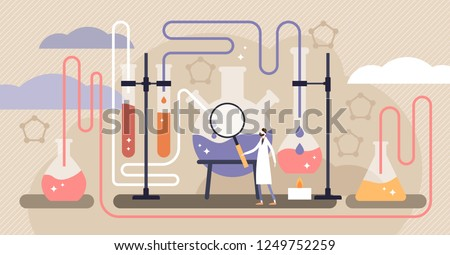 Chemistry industry vector illustration. Flat mini science research persons concept. Experimental medicine or pharmacy discovery laboratory with physics test equipment. Knowledge learning in university Сток-фото ©
