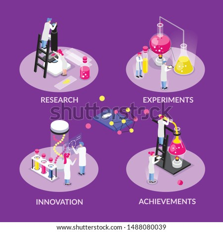 Chemistry isometric composition with set of round compositions with text captions human characters and laboratory equipment vector illustration
