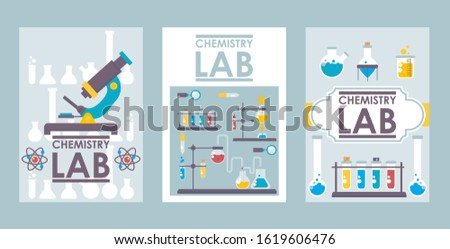 Chemistry lab banners, vector illustration. Scientific brochure cover design, laboratory booklet template. Flat style chemistry lab icons, science research symbols. Medical research analysis test