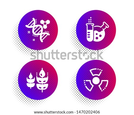 Chemistry lab, Chemistry dna and Gluten free icons simple set. Halftone dots button. Chemical hazard sign. Laboratory, Chemical formula, Bio ingredients. Toxic. Business set. Vector