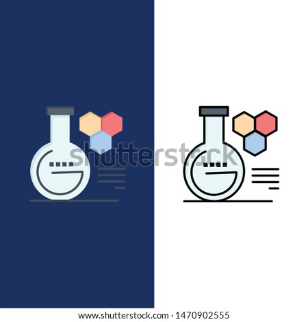 Chemistry, Lab, Chemistry Lab, Education  Icons. Flat and Line Filled Icon Set Vector Blue Background. Vector Icon Template background