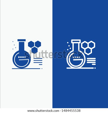 Chemistry, Lab, Chemistry Lab, Education Line and Glyph Solid icon Blue banner. Vector Icon Template background