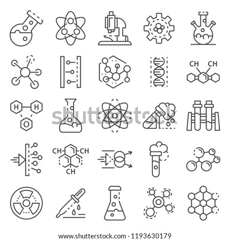 Chemistry lab icon set. Outline set of chemistry lab vector icons for web design isolated on white background