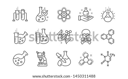 Chemistry lab line icons. Chemical formula, Microscope and Medical analysis. Laboratory test flask, reaction tube, chemistry lab icons. Linear set. Vector