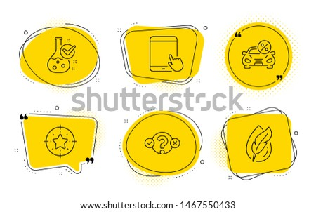 Chemistry lab, Quiz test and Hypoallergenic tested signs. Chat bubbles. Star target, Tablet pc and Car leasing line icons set. Winner award, Touchscreen gadget, Transport discount. Vector