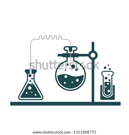 Chemistry lab. Test tubes-toxic experiment illustration sign. Pharmacology and biotechnology equipment sign symbol