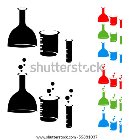 Chemistry laboratory flasks symbols. Colored vector set.