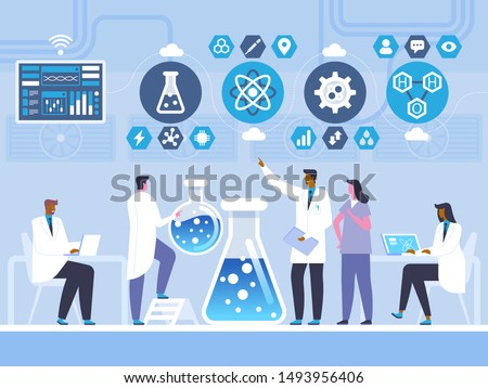 Chemistry laboratory test flat vector illustration. Doctors and assistant cartoon characters. Chemist, scientist profession. Chemical experiment, reaction study. Biochemistry research concept
