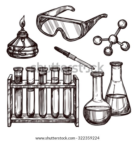Hand drawn science vintage chemistry ... | Stock vector ... |Lab Chemist Drawings