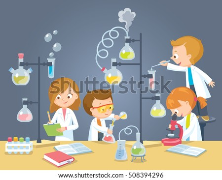 Chemistry laboratory with pupils
