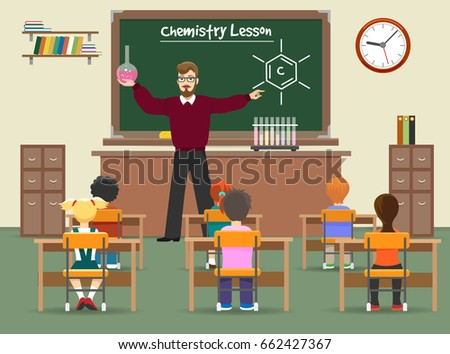 Chemistry lesson classroom vector illustration. School chemistry lab with boys and girls kids and teacher front of chalkboard