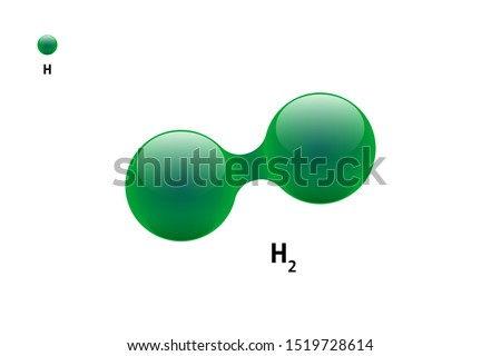 Chemistry model of molecule hydrogen H2 scientific element. Integrated particles natural inorganic 3d molecular structure compound. Two green volume atom spheres vector illustration isolated
