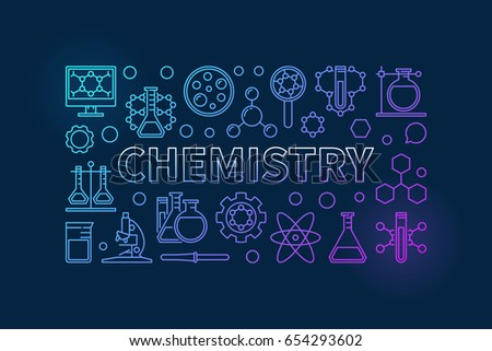 Chemistry outline background. Vector blue education and science illustration made with linear chemical icons and word CHEMISTRY on dark background
