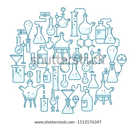 Chemistry round background. Education science. The production of chemicals kit. Laboratory research experiments equipment. Contour blue line.