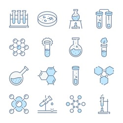 Chemistry, Science and Laboratory related blue line colored icons.
