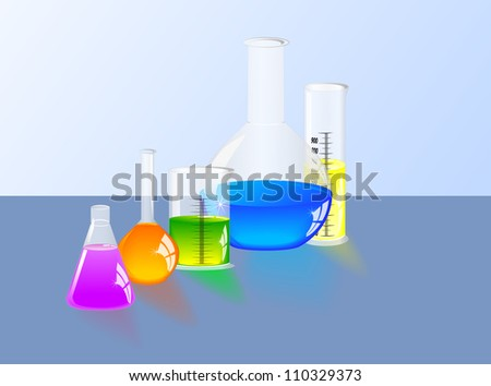 Chemistry science. Chemical laboratory. Laboratory flask and Graduated cylinder - stock vector