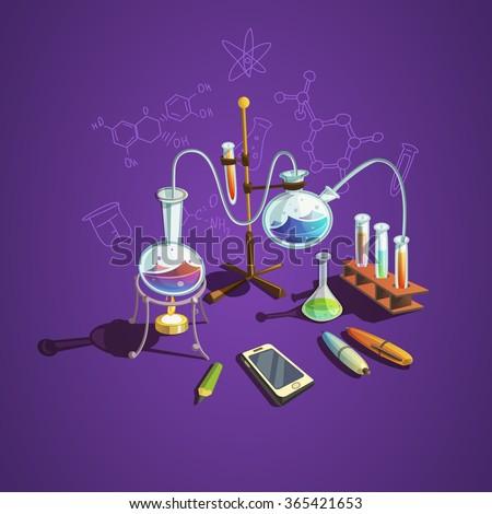 Chemistry science concept with retro cartoon scientific lab items vector illustration