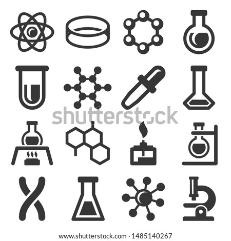 Chemistry Science Icons Set on White Background. Vector
