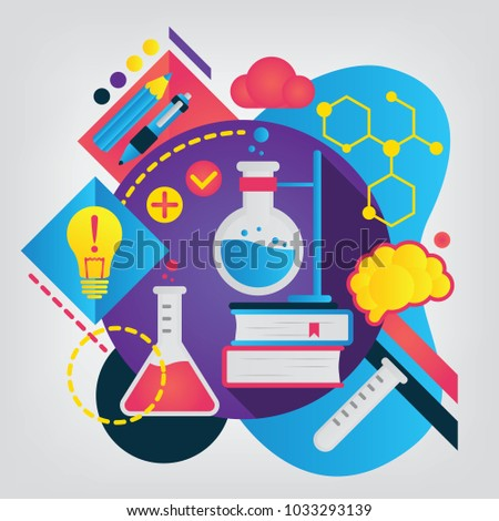 Chemistry. Set of illustration for school notebook or schedule of lessons. Can be used as web banner for laboratory research. Back to school concept.