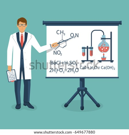 Chemistry teacher in white coat with pointer standing in front of blackboard. University professor giving lecture. Presentation of scientific discovery with formulas illustrations. Vector flat design.