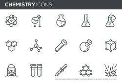 Chemistry Vector Line Icons Set. laboratory, Flask, Experiment, Research, Scientific Equipment. Perfect pixel icons, such can be scaled to 24, 48, 96 pixels.