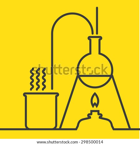 Chemistry with lab test and research equipment
