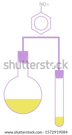 Chemistrycolourful beakers of flask and test tube holding chemicals flat vector icon for science. Science symbols with chemical formula