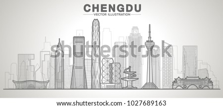 chengdu line city skyline on a