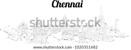 chennai city hand drawing