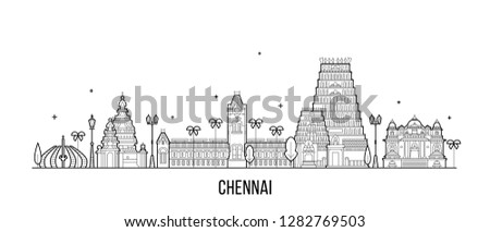 Chennai skyline, Tamil Nadu, India. This illustration represents the city with its most notable buildings. Vector is fully editable, every object is holistic and movable