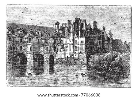 Chenonceau Castle, in Chenonceaux, France, during the 1890s, vintage engraving. Old engraved illustration of Chenonceau Castle. Trousset Encyclopedia