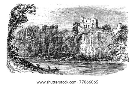 Chepstow Castle, in Monmouthshire, Wales, during the 1890s, vintage engraving. Old engraved illustration of Chepstow Castle. Trousset Encyclopedia