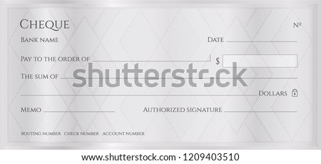 Cheque, Check, Chequebook template. Guilloche pattern with abstract geometric watermark. Silver background for banknote, money design, currency, bank note, Voucher, Gift certificate, Money coupon
