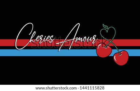 cherries amour slogan and vector