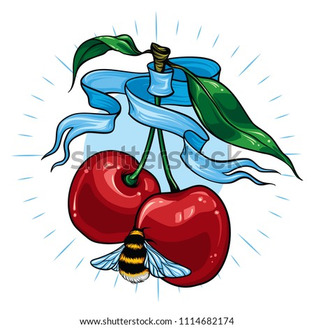 Cherries and bumblebee tattoo. Vector illustration