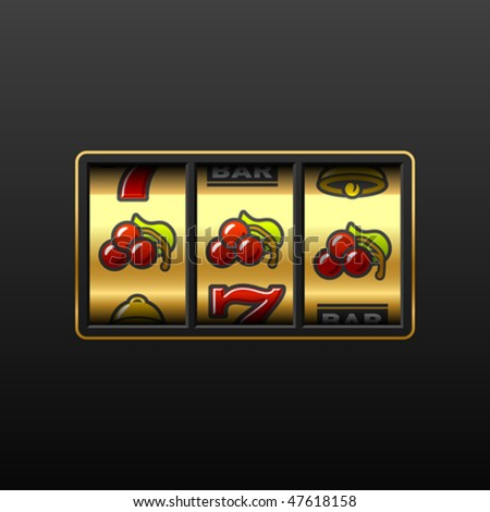 Cherries on slot machine. Vector.