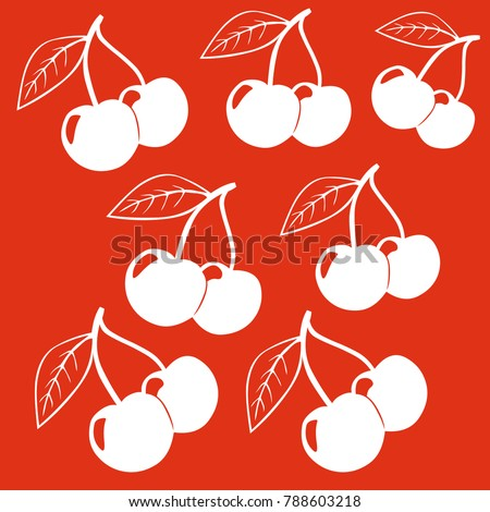 Cherries pattern. Cherry isolated on red background. Cherries background.