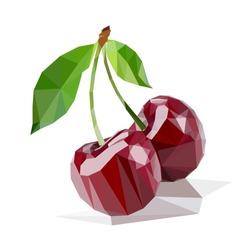 cherries polygonal vector illustration isolated