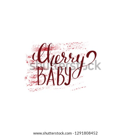 cherry baby vector illustration, lettering for cards, logotype, for st valentine day  #1291808452