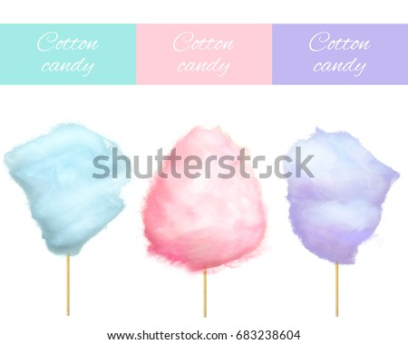 Cherry bilberry and blueberry cotton candies vector illustrations isolated on white. Sweet tasty desserts for children in graphic design