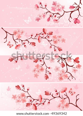 Cherry blossom, banner. Vector illustration