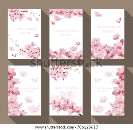 Cherry blossom frame and border vector. Floral pattern background for card, poster,  template, backdrop, cover page design.