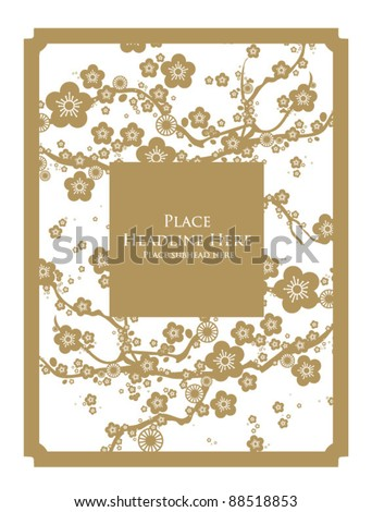 cherry blossom frame template vector
