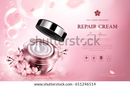 cherry blossom repair cream contained in a jar, with romantic flowers and bubbles, pink background 3d illustration