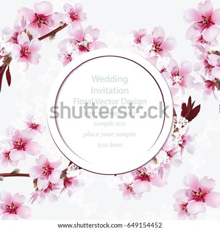 cherry blossom round card frame