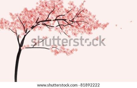 Cherry blossom-tree with flowers vector illustration