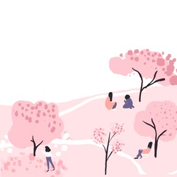 Cherry blossom trees in park, people have a picnic sitting under pink spring blooming sakura. Hanami festival. Vector illustration with blank copyspace.