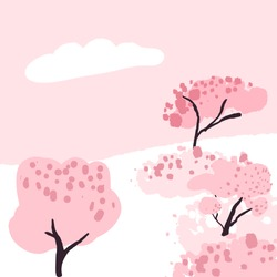 Cherry blossom trees in park, pink spring blooming sakura. Hanami festival. Vector illustration with blank copyspace.